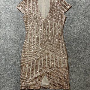 Women's Sparkly Short Sleeve Rose Gold Dress Sequi